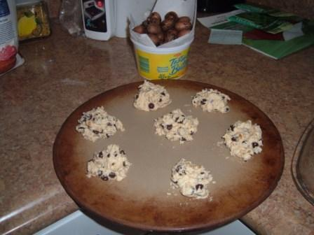 chocolate chip pecan cookies ready for the oven