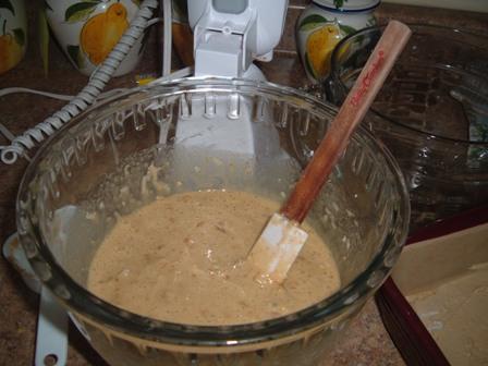 pecan pie bars ingredients in mixer